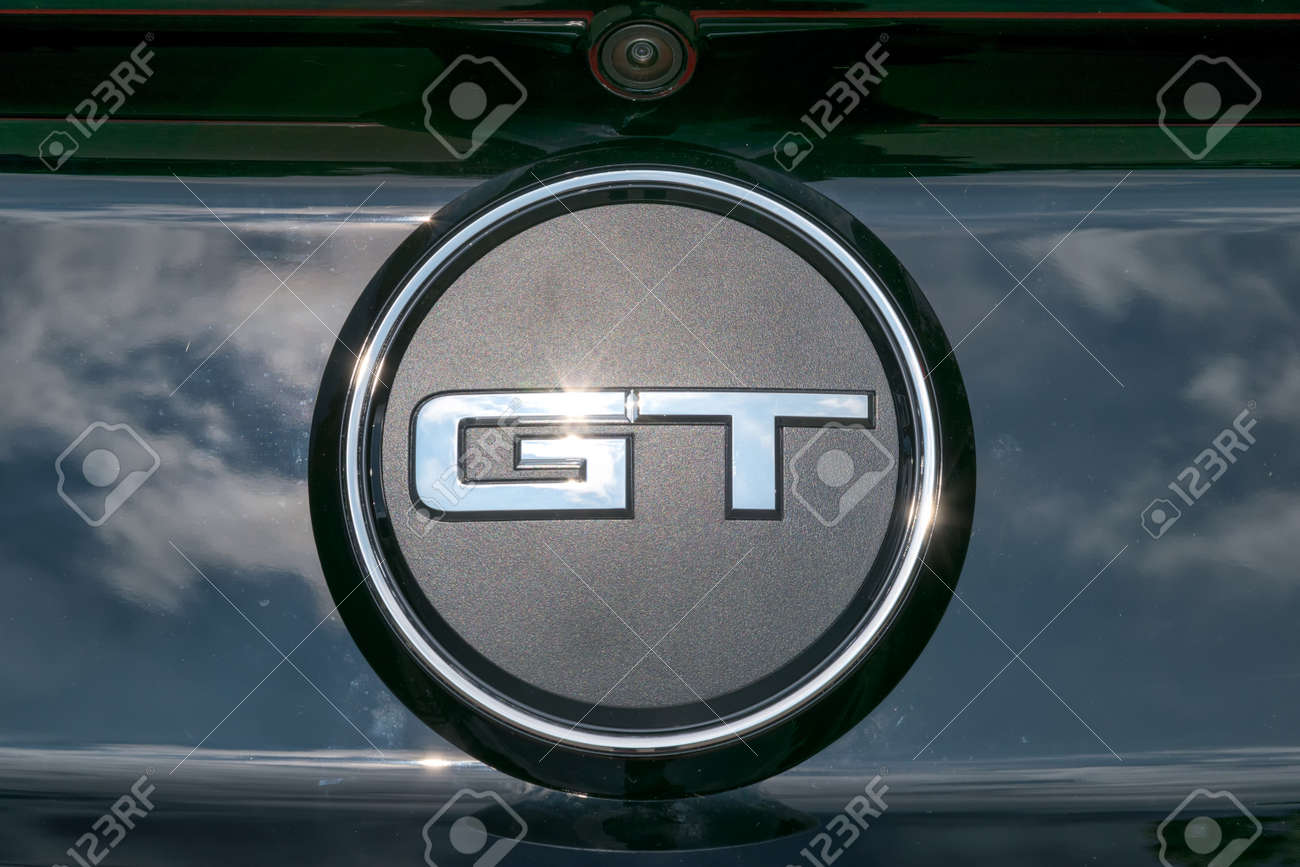 Stock photo turin italy june 9 2016 closeup of the gt logo on a ford mustang model