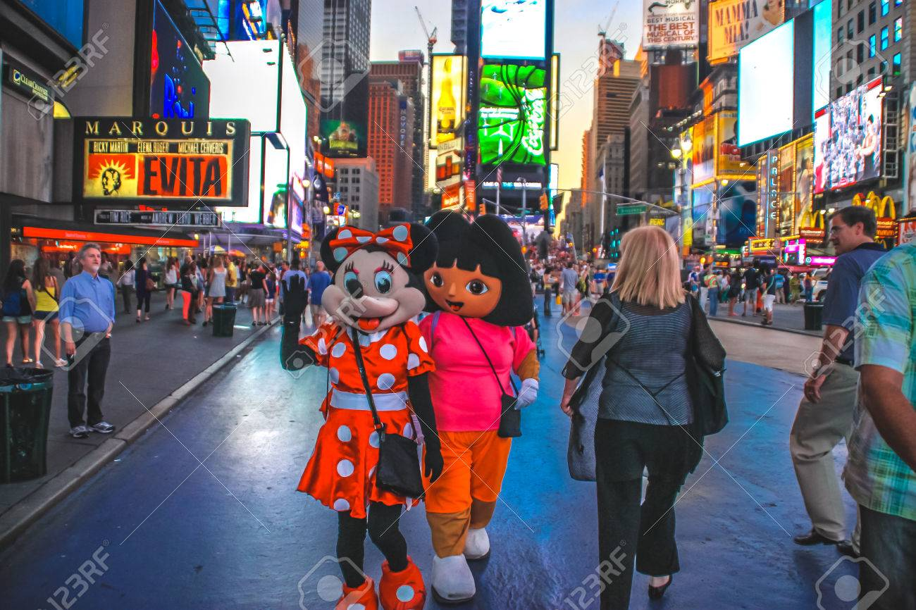 cartoon characters in time square new york stock photo picture and