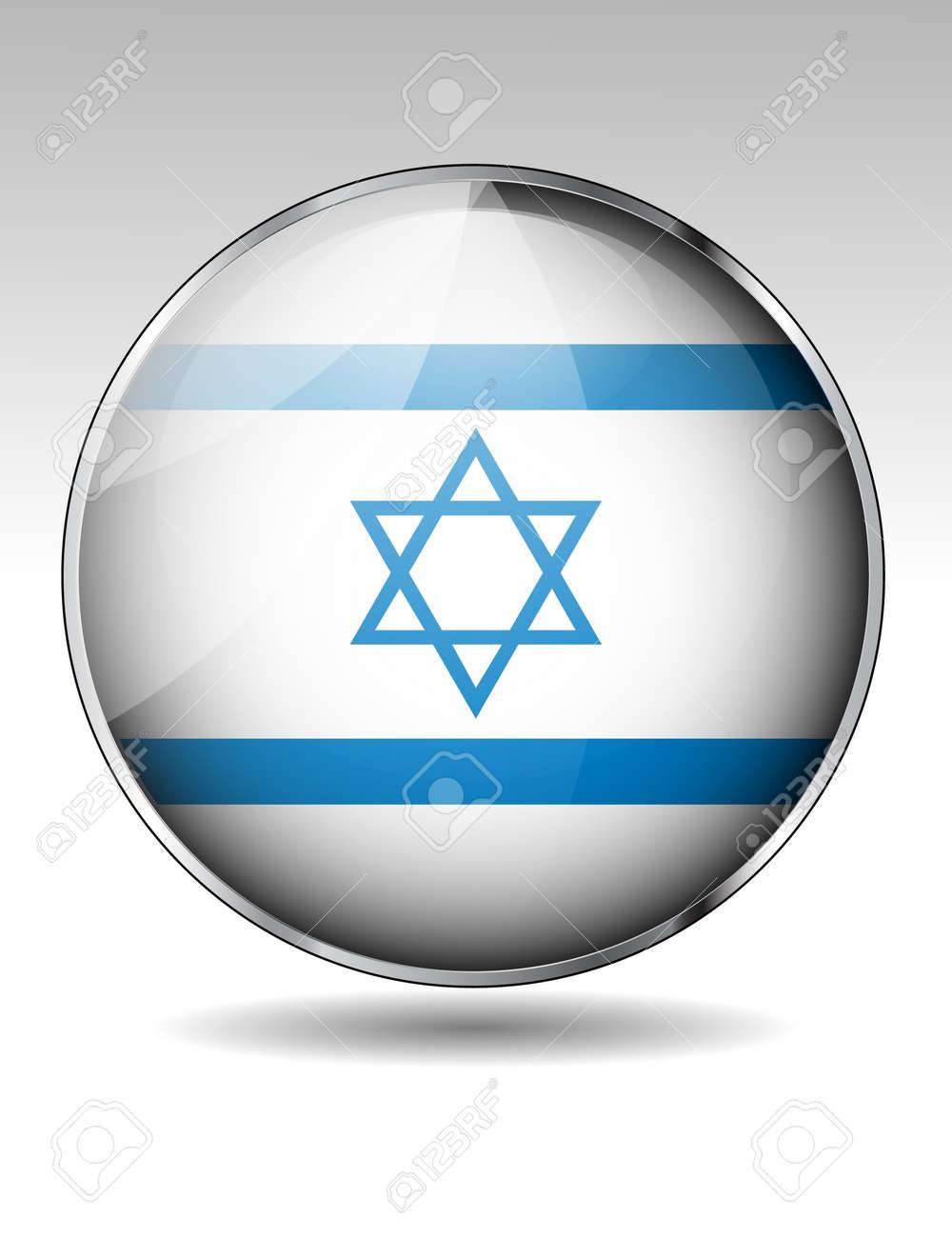 Israel flag button Stock Vector - 20259350
