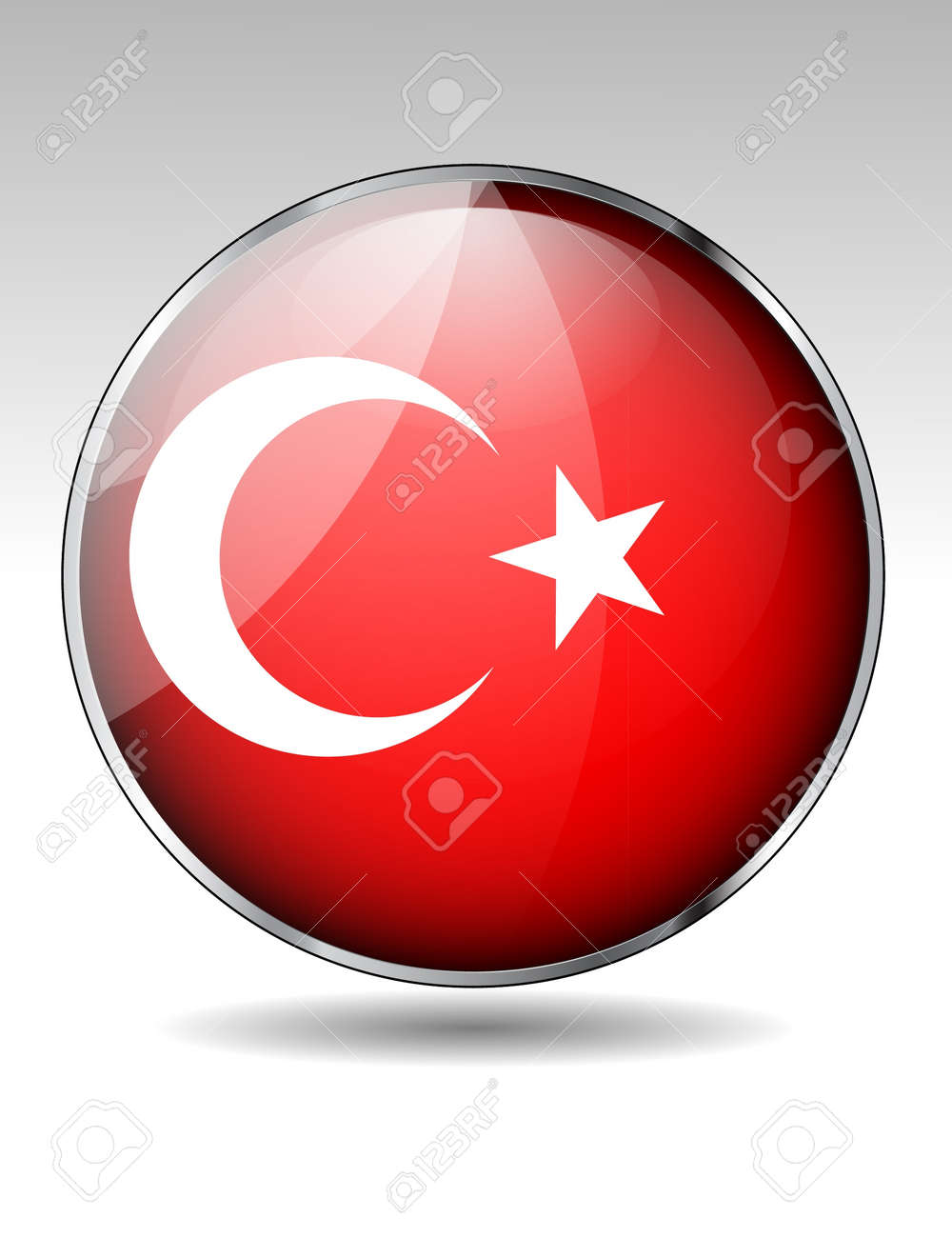 Turkey flag button Stock Vector - 21059676