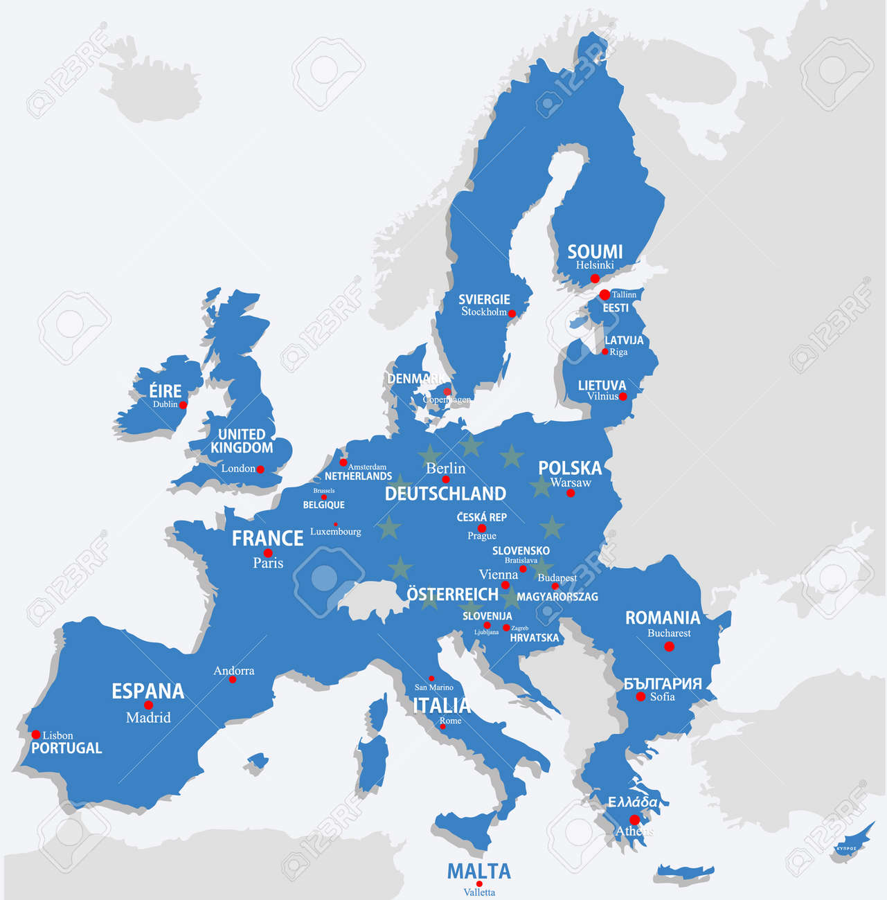 European Union Map With All Europe Countries And Capital Name – Map of All Europe