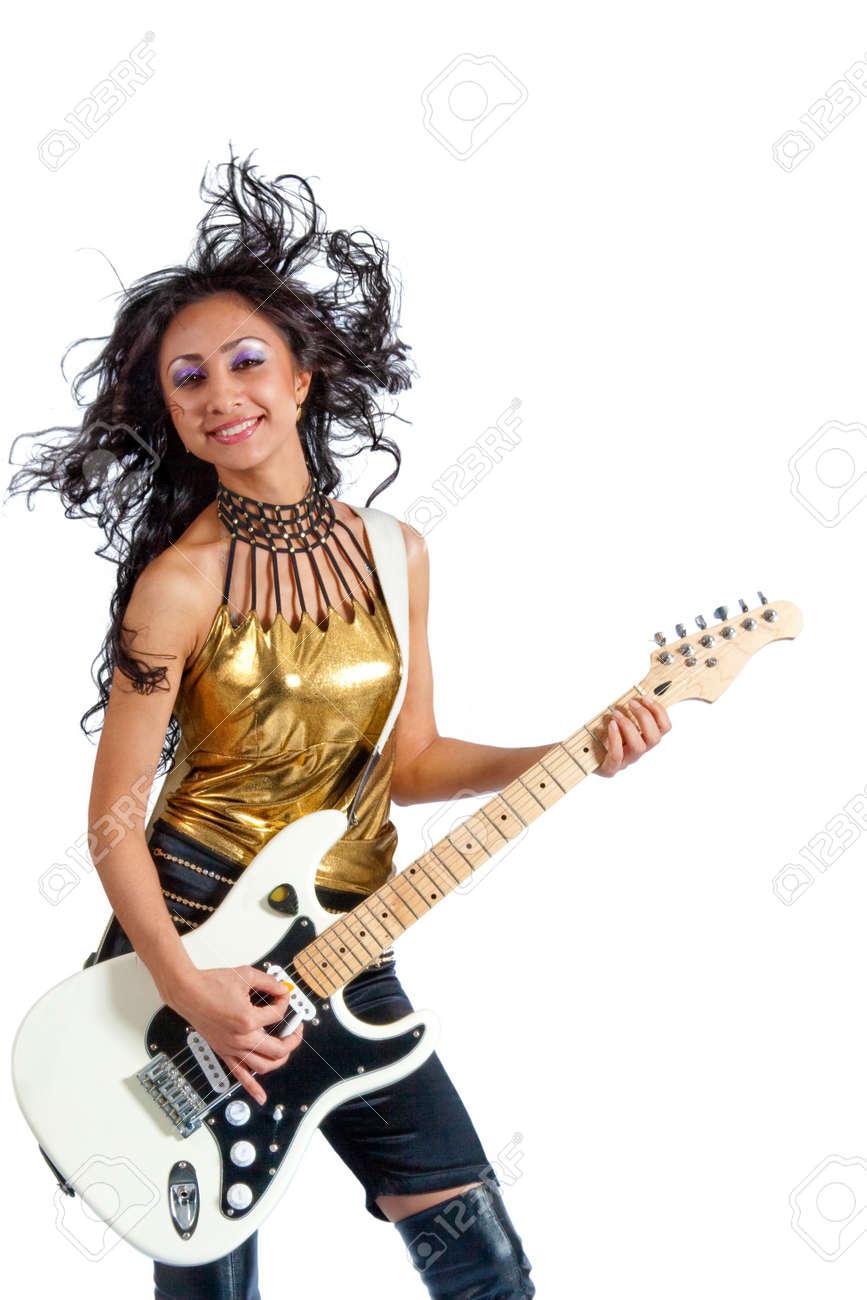 asian girl guitarist playing an electric guitar Stock Photo - 8118830
