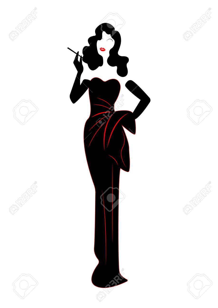 RétroStyle Des Mode Robe Années Silhouette Diva 1940Vecteur Et De HollywoodBelle Femme Soirée nOk80wP