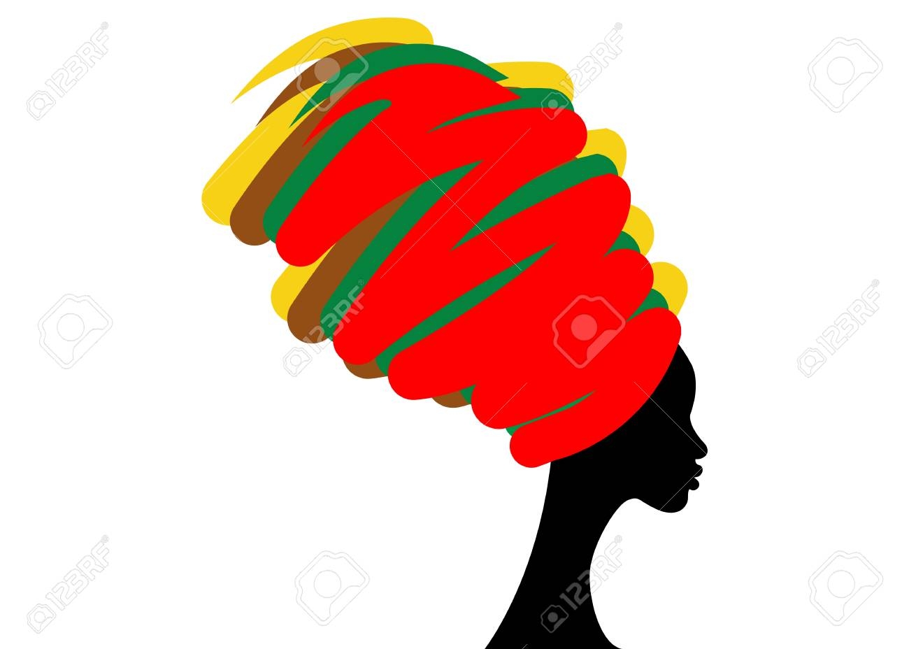portrait beautiful African woman in traditional turban, Kente head wrap African, Traditional dashiki printing, black women vector silhouette isolated , hairstyle concept - 90923211