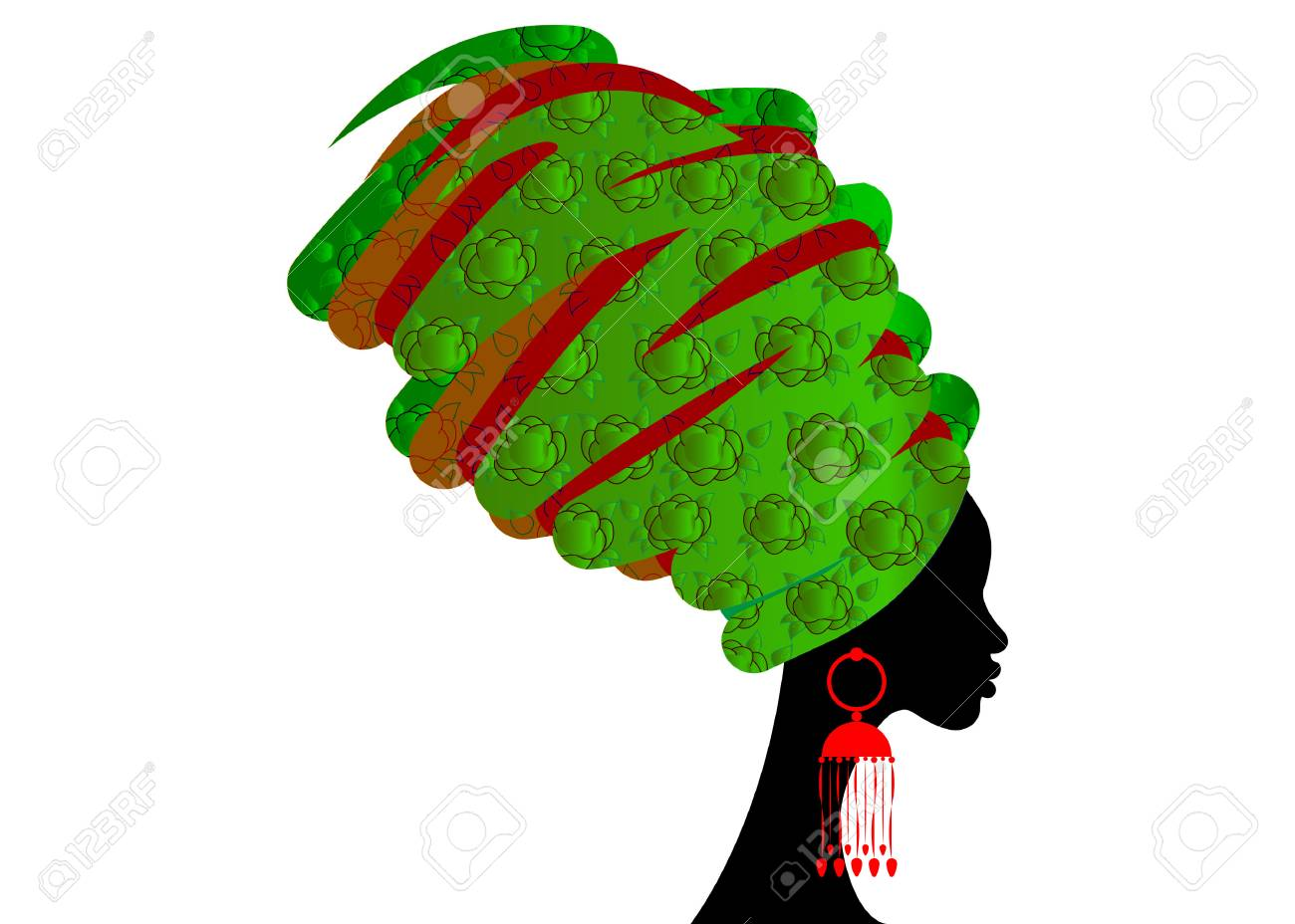 portrait beautiful African woman in traditional turban, Kente head wrap African, Traditional dashiki printing, black women vector silhouette isolated , hairstyle concept - 90754660
