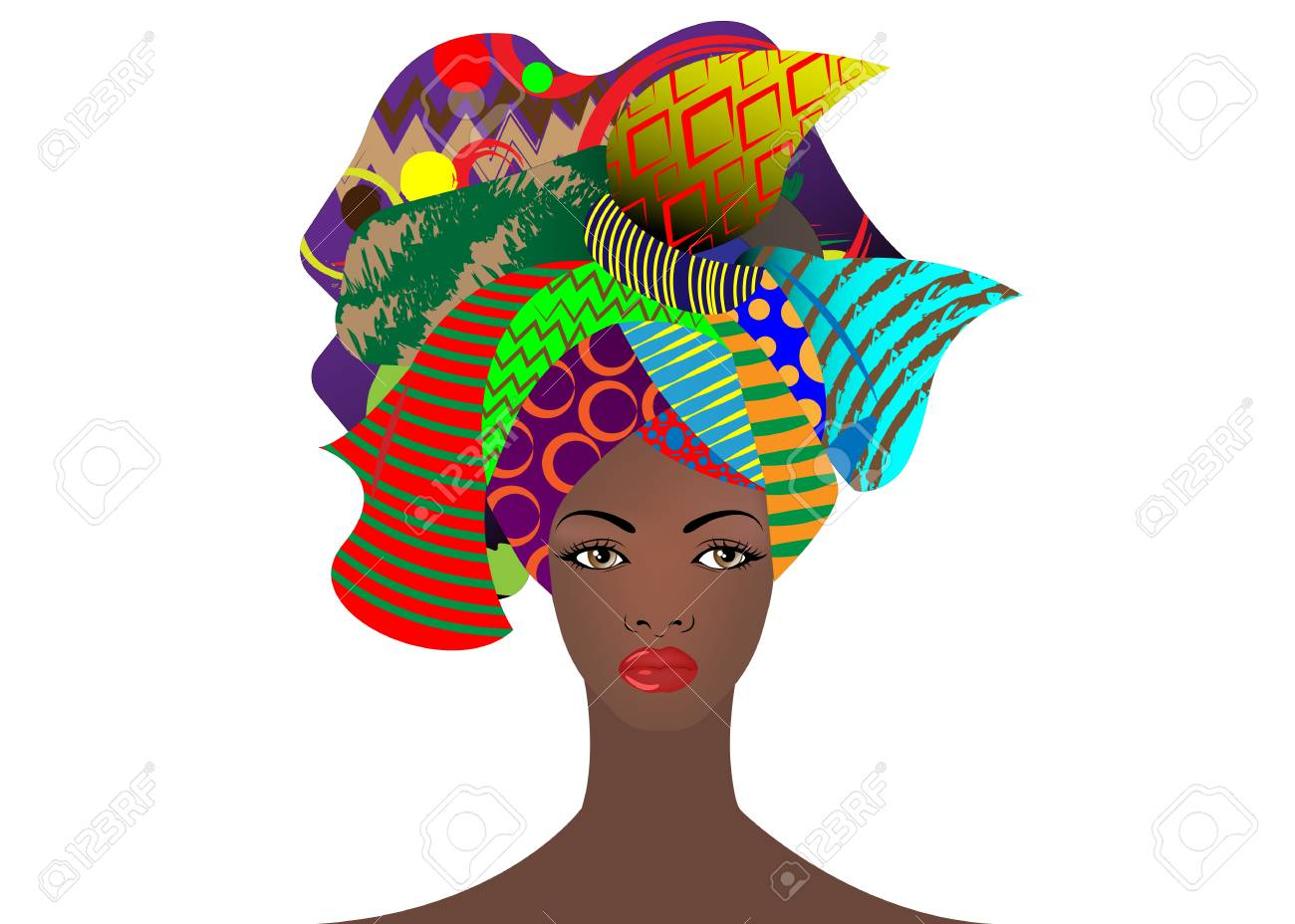 portrait of the young African woman in a colorful turban. Wrap Afro fashion, Ankara, Kente, kitenge, African women dresses with ethnic jewelry. Nigerian style, Ghanaian fashion. Vector isolated for Print, poster, t-shirt, card - 101725763