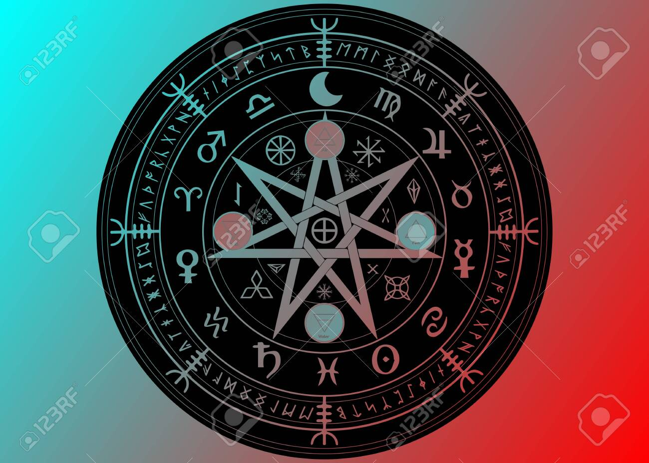 Wiccan symbol of protection  Black Mandala Witches runes and