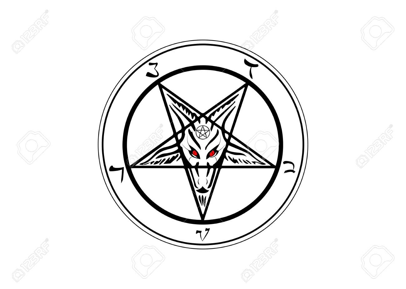 The Sigil of Baphomet original Goat Pentagram, vector isolated
