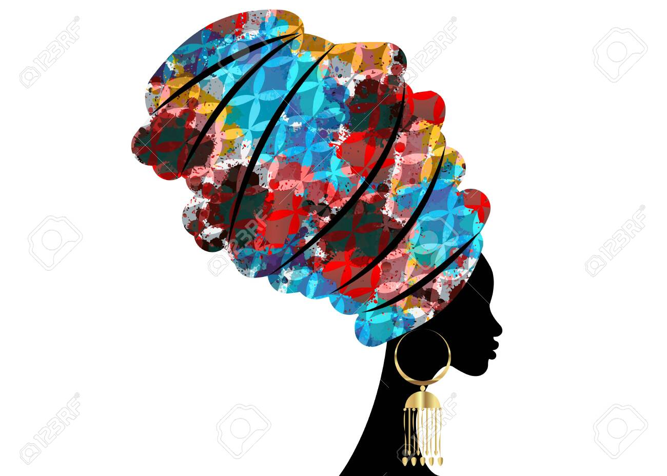 portrait beautiful African woman in traditional turban, Kente head wrap African, Traditional dashiki printing, black women vector silhouette isolated with traditional gold earrings, hairstyle concept - 126735346
