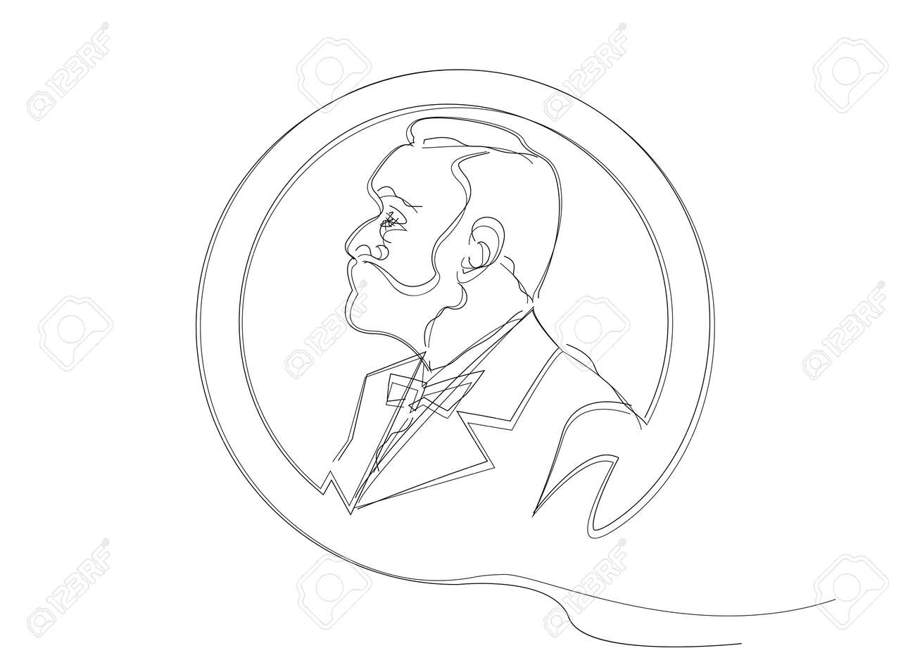 single line sketch of man with beard. Music literature award, Man Head Profile coin icon. The award of the year, vector abstract prize medal, isolated on white background - 133745385