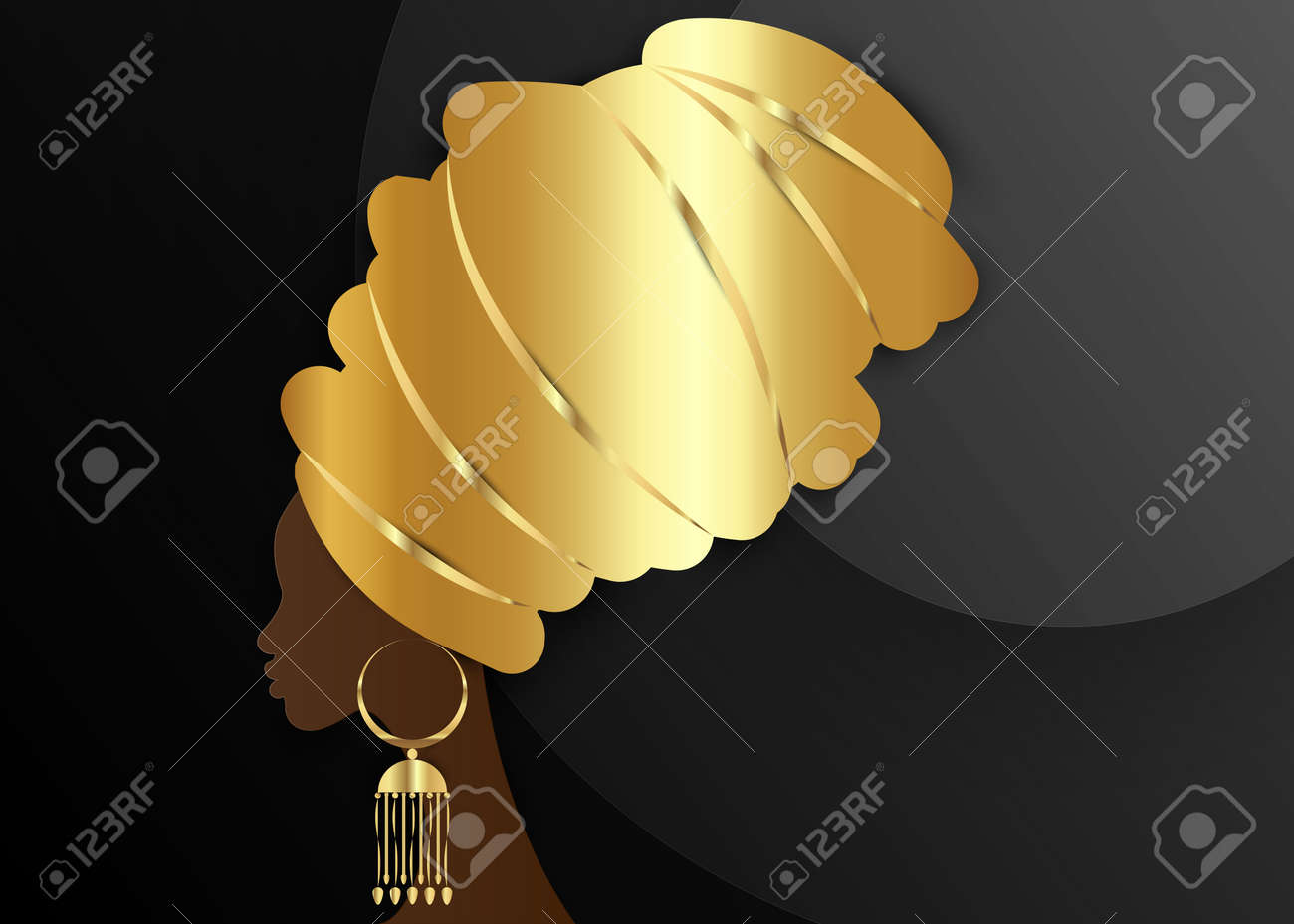 portrait beautiful African woman in traditional turban, Gold Kente head wrap African, Traditional dashiki and golden ethnic earring, black afro women vector silhouette isolated on black background - 135503594