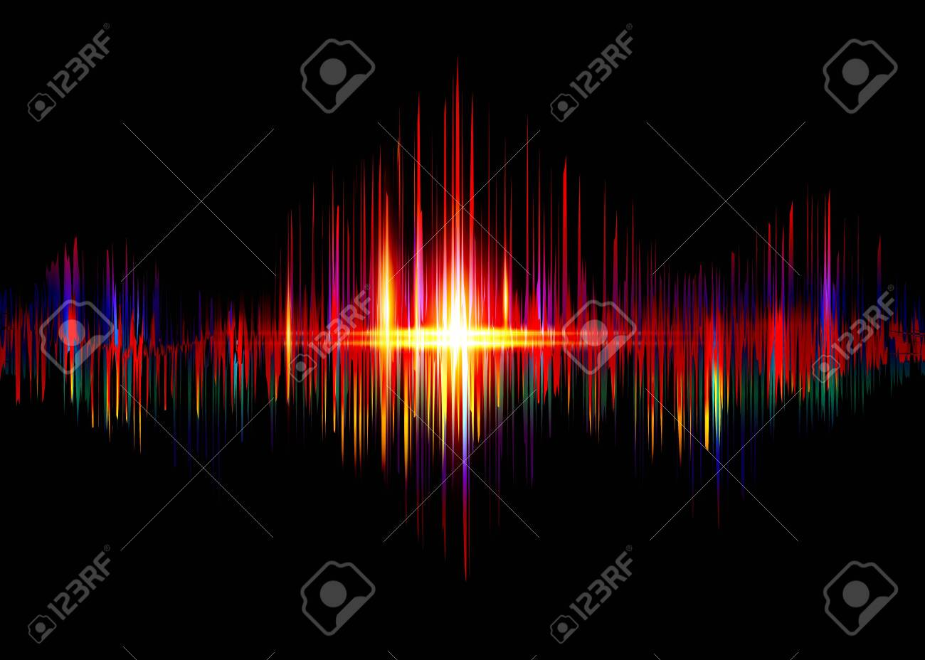 sound wave rhythm background. Spectrum color digital Sound Wave equalizer, technology and earthquake wave concept, design for music industry. Vector isolated on black - 145538934