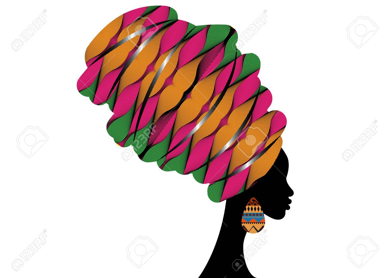 Portrait beautiful African woman in traditional turban wearing typical Afro ethnic earrings. Ankara colorful texture Headwrap. Vector isolated or white background - 147638693