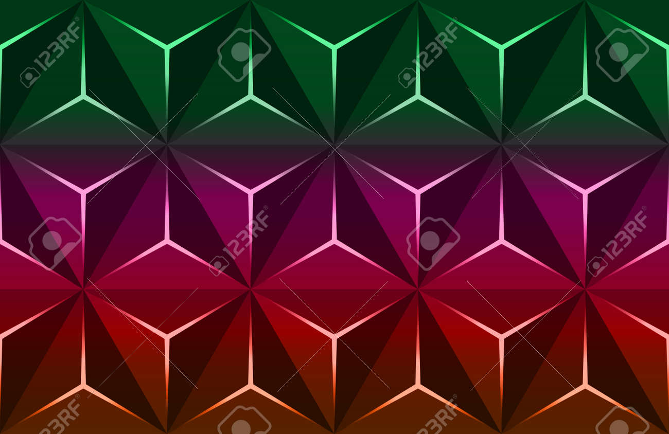 Geometric 3D Pattern with Basic Shapes. Colorful Background with luxury dark polygonal texture and pink triangle lines. Abstract Premium triangles design low poly surface, vector illustration - 171760123