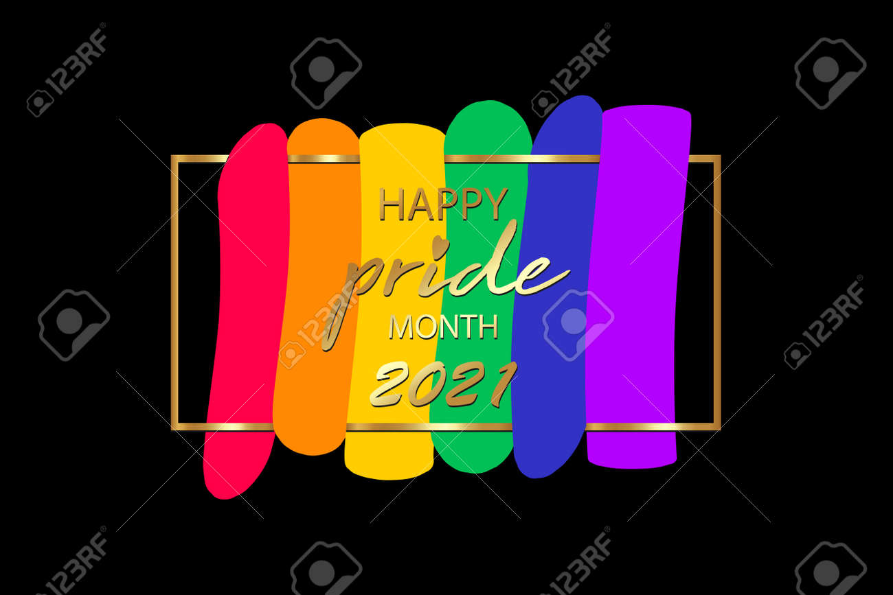 Pride month 2021 logo with rainbow flag. Banner Pride symbol with heart, LGBT, minorities, gays and lesbians. Background Love is love. Template designer sign, icon colorful rainbow isolated on black - 171760124