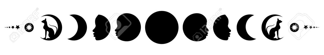 Phases of the moon. Triple moon and black cats, pagan Wiccan goddess symbol, full moon, waning, waxing, first quarter, gibbous, crescent, third quarter. Vector banner isolated on white background - 171873021