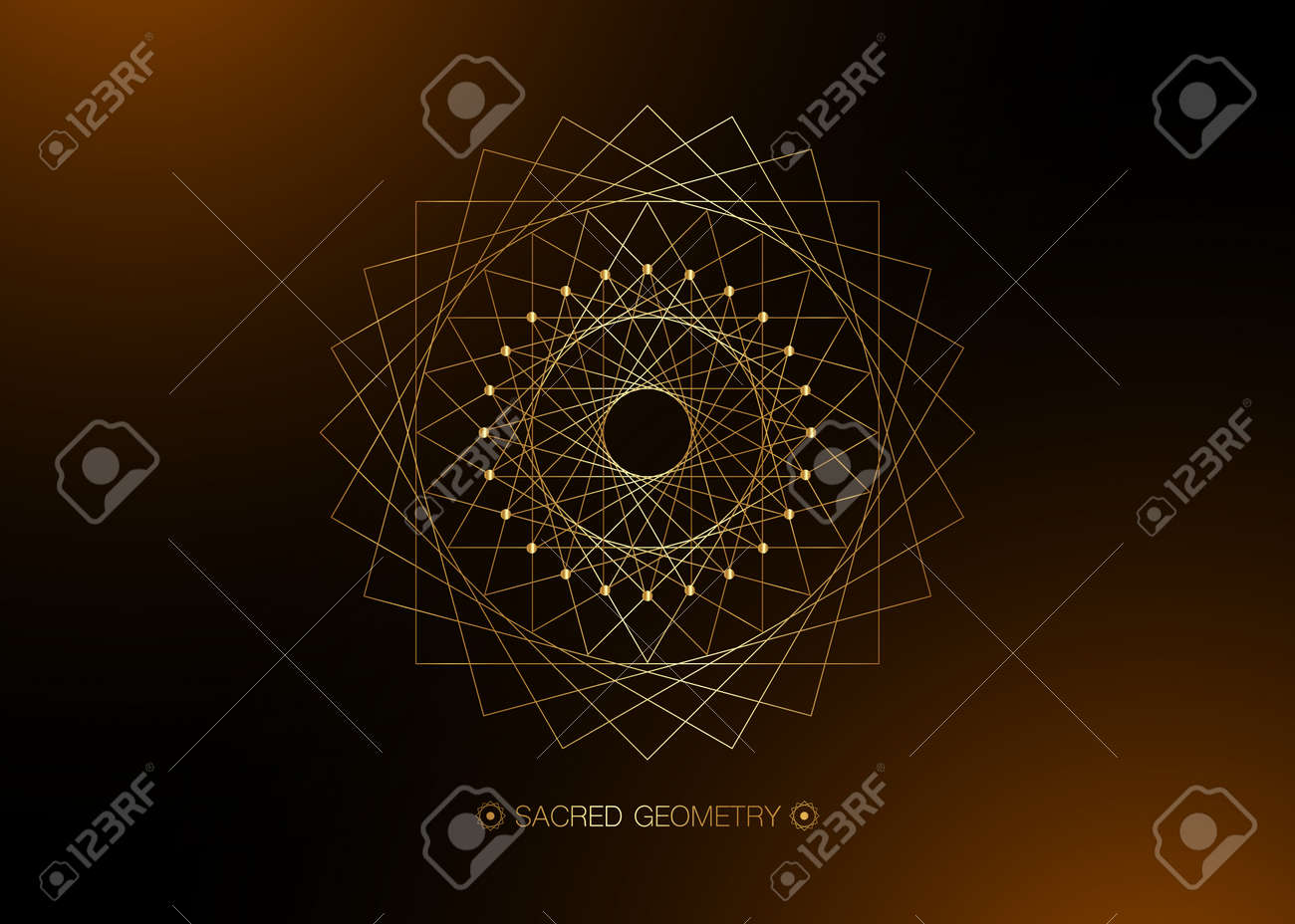 Gold Circle mandala, Sacred Geometry, round frame sign geometric logo design with intertwining of square and triangular shapes, golden line drawing mystic icon vector isolated on black background - 171954029