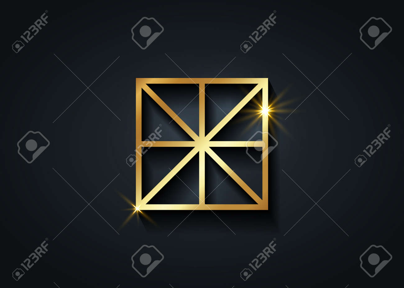 Sacred Center, The Omphalos, gold exoteric symbols, eight linear segments converging towards a central point of a square. Golden Geometry Logo icon isolated on black background - 172077586