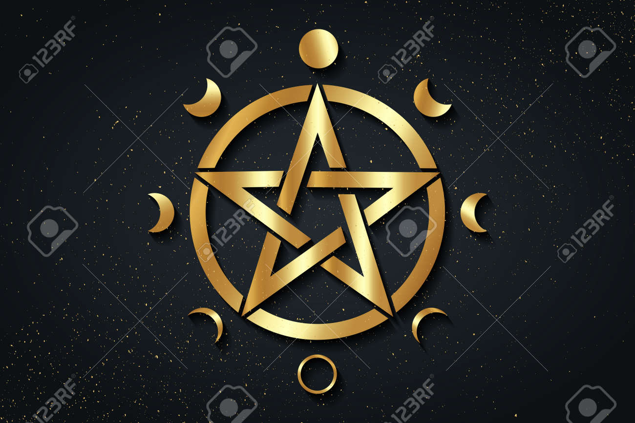 Gold Pentacle circle symbol and Phases of the moon. Wiccan symbol, full moon, waning, waxing, first quarter, gibbous, crescent, third quarter. Vector logo isolated on black golden starry background - 172077587