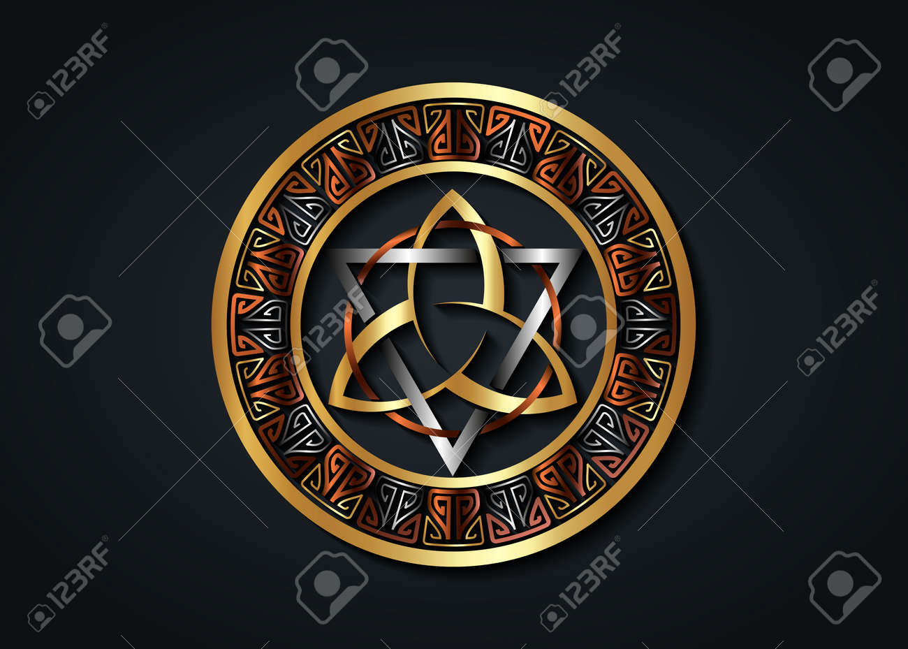 The Grand Seal of gold Triquetra with silver Triangle and bronze Circle logo, Metallic Frame Trinity Knot, Pagan Celtic symbol Triple Goddess. Wicca sign, book of shadows, vector isolated on black - 172077590