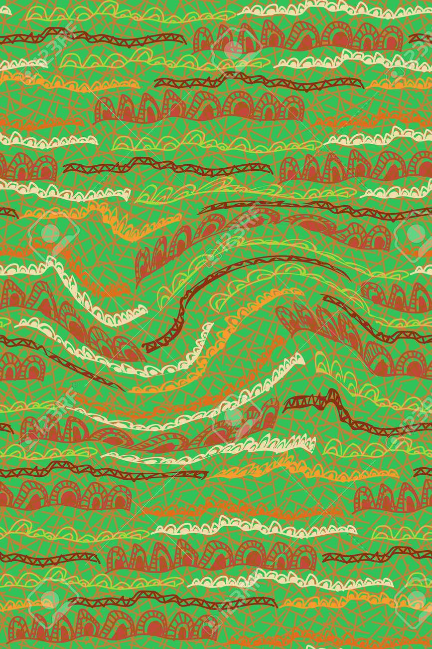 African Print fabric, Ethnic handmade ornament, Seamless tribal pattern motifs geometric elements. Vector texture, afro textile Ankara fashion style. Pareo wrap dress, carpet batik from Mali - 172499717