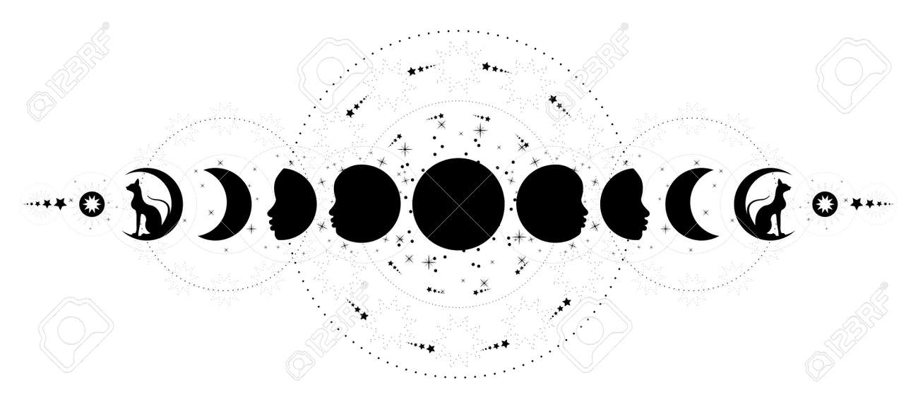 Phases of the moon. Triple moon and black cats, pagan Wiccan goddess symbol, full moon, waning, waxing, first quarter, gibbous, crescent, third quarter. Vector banner isolated on white background - 172499721