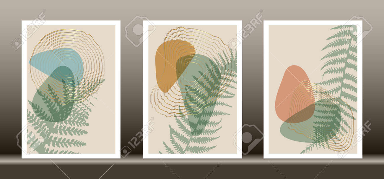 Botanical wall art vector set. Tropical fern foliage line art drawing with abstract shape, Abstract Plant Art design for wall framed prints, canvas prints, poster, home decor, cover, wallpaper - 172175661