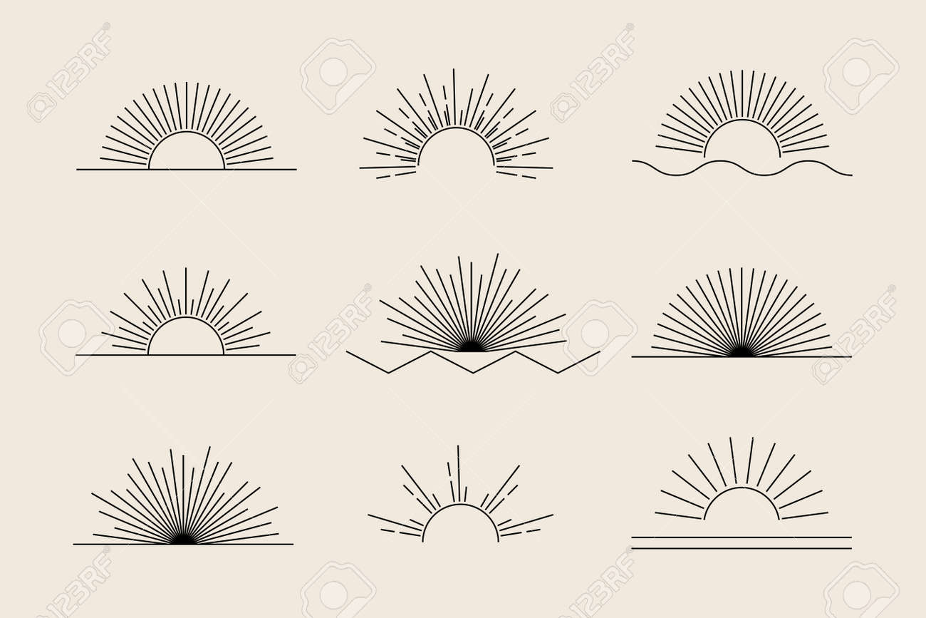 Vector Sun set of black linear boho icons and symbols, sun logo design templates, abstract design elements for decoration in modern minimalist style for social media posts, stories, isolated - 172744802