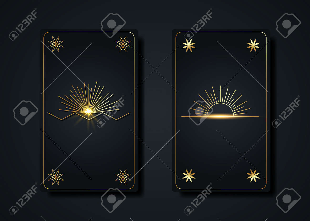 Set magical tarot cards, gold magic Sun boho style, sacred geometry sign, esoteric spiritual symbols, Flower of Life. Luxury Seed of life flowers. Vector collection golden and black background - 172677509