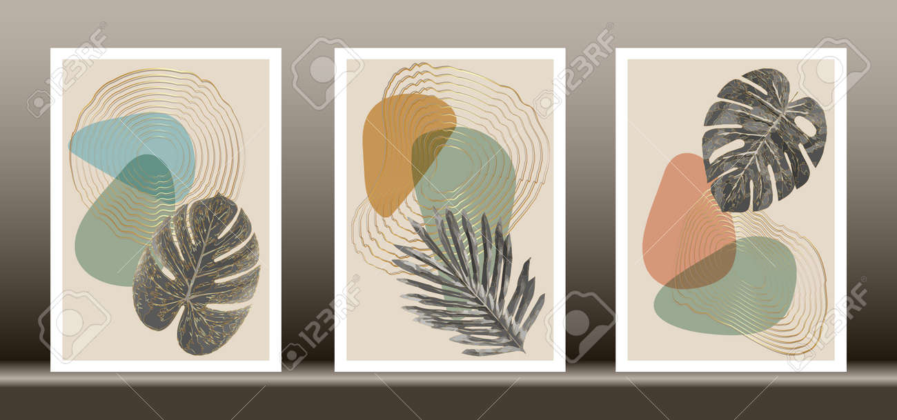 Botanical wall art vector set. Golden foliage line art drawing with abstract shape, Gold Abstract Plant Art design for wall framed prints, canvas prints, poster, home decor, cover, wallpaper - 172686973