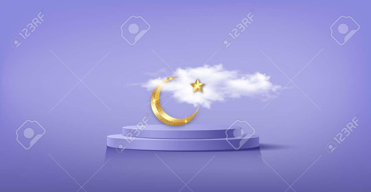 Luxury Islamic Podium with gold crescent moon, traditional islamic symbols. 3D Horizontal Arabic Banner for product showcase, Product presentation, cosmetic, base, ramadan sales, purple background - 173019811