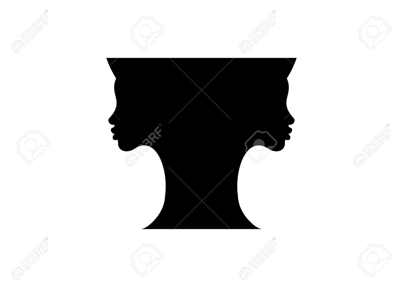 two young women black silhouette faces making a vase shape optical negative space illusion. Beautiful girl double girl face contour pot shape. Vector isolated on white background - 173019815