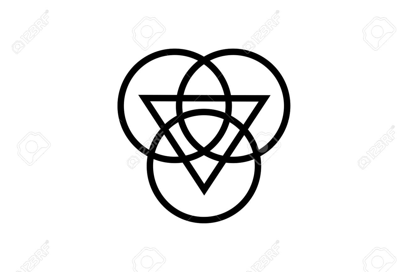 Triquetra with Triangle logo and overlapping circles, Trinity Knot tattoo, Pagan Celtic symbol Triple Goddess. Wicca sign, book of shadows, Vector Wiccan divination isolated on white background - 173302421