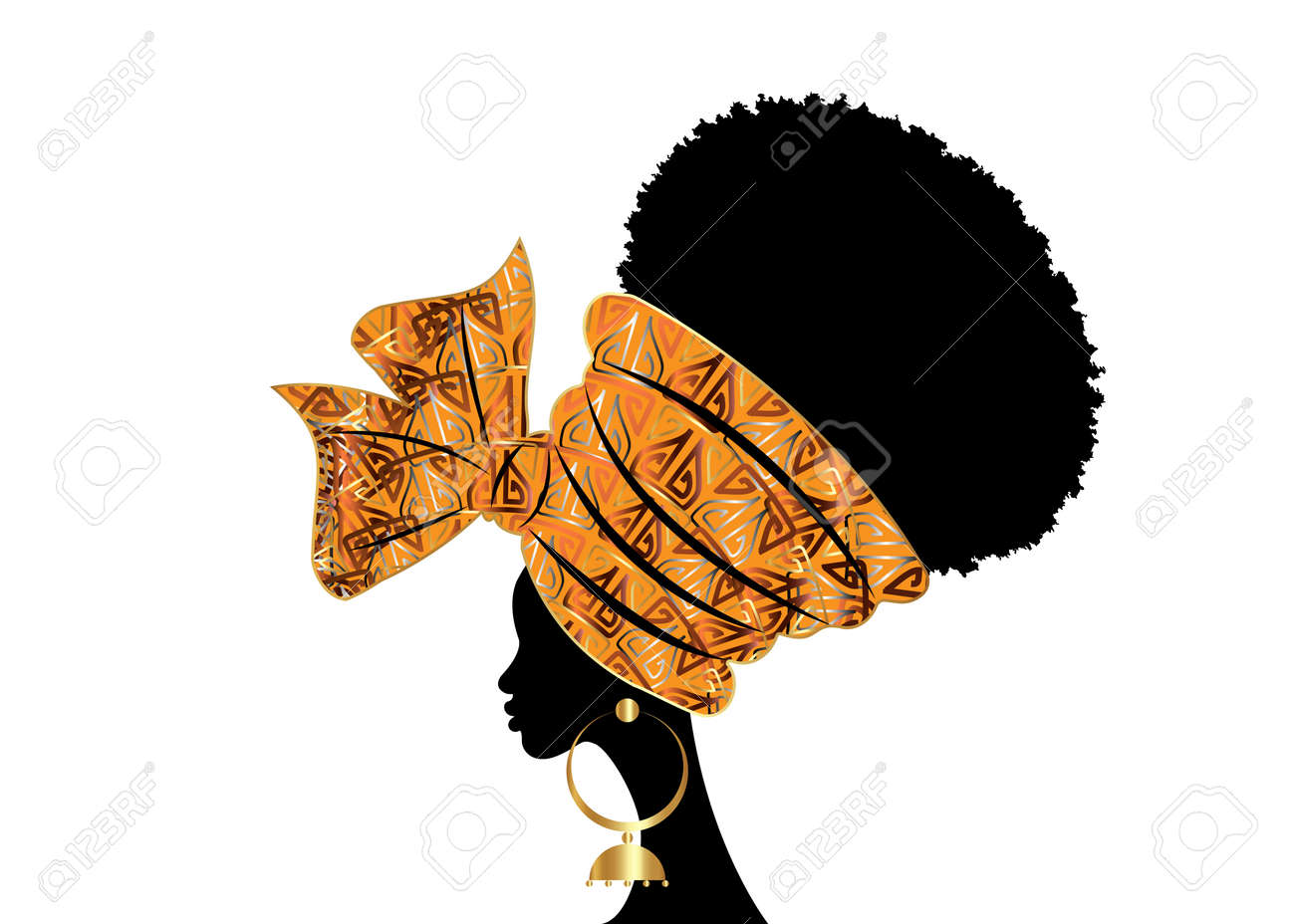 portrait beautiful African woman in traditional wax turban handmade wedding tribal motif, Kente head wrap African with gold ethnic earrings, black women Afro curly hair, vector silhouette isolated - 173266490