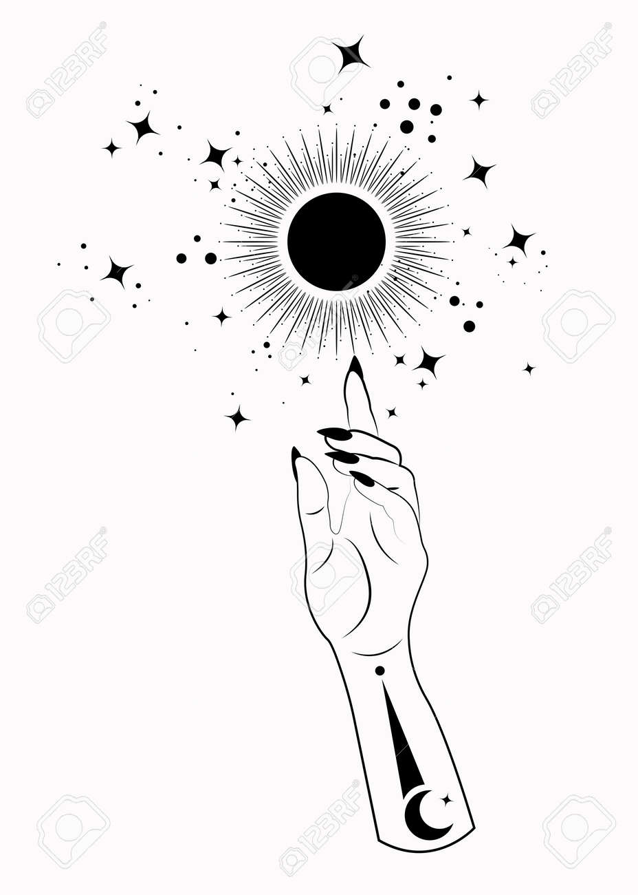 Mystical Woman Hand alchemy esoteric magic sun symbol, Sacred Geometry. Boho style Logo in black outline tattoo icon. Spiritual occultism mystic wicca sign. Vector template isolated on white - 173302425