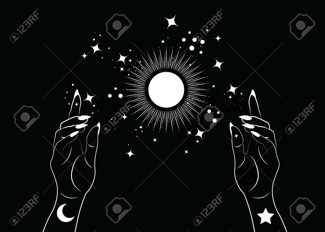 Mystical Woman Hands alchemy esoteric magic sun symbol, Sacred Geometry. Boho style Logo in white outline tattoo icon. Spiritual occultism mystic wicca sign. Vector template isolated on black - 173302426