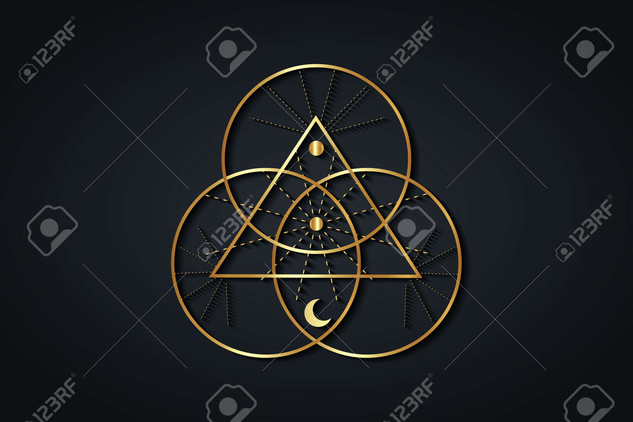 Gold Sacred Geometry, Triangle logo and overlapping circles, Triquetra Trinity Knot symbol, Triple Goddess, rays of light. Wicca sign, book of shadows, Vector divination isolated on black background - 173569564