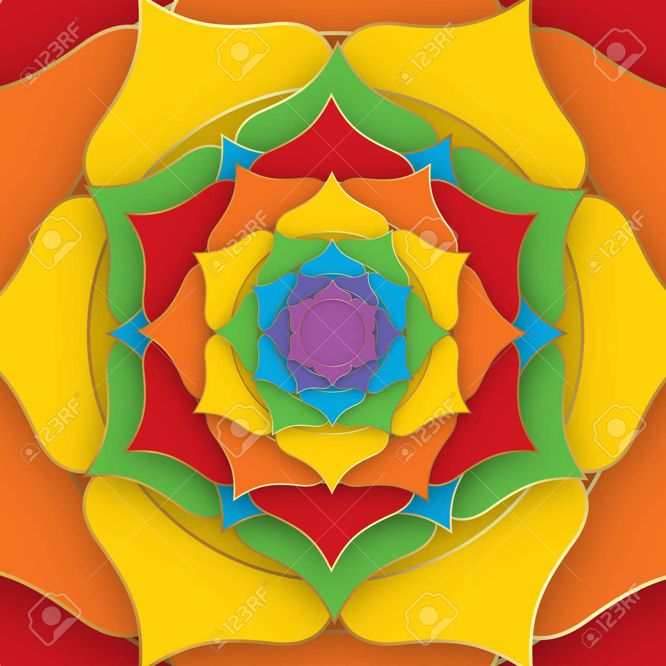 Sacred Lotus with the seven colors of the chakras for yoga, meditation and spa center. Set of mystical colorful petals, esoteric multicolors flower, vector Indian lotus background - 173569566
