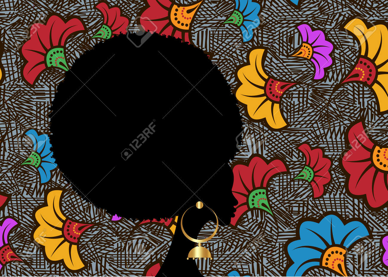 portrait African Woman, black curly afro hair, dark skin female face with curly hairstyle concept. ethnic traditional gold earrings. Vector black girl silhouette isolated or wedding flowers background - 173569567