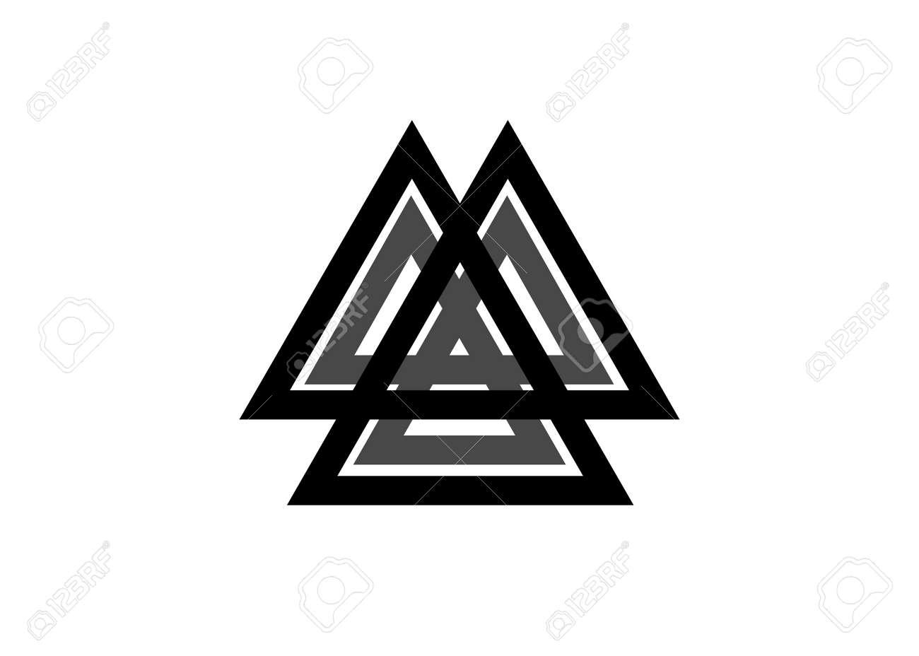 Interwoven triangles, valknut, sacred geometry. Flat icon. - 173556678