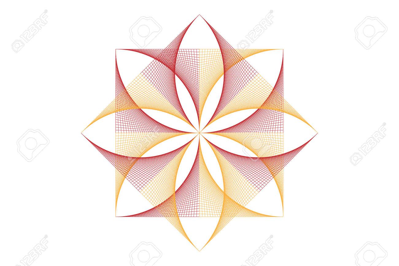 lotus flower mandala, Seed of life symbol Sacred Geometry. icon Geometric mystic mandala of alchemy esoteric Flower. Vector colorful string line art divine meditative amulet isolated on white - 173556679