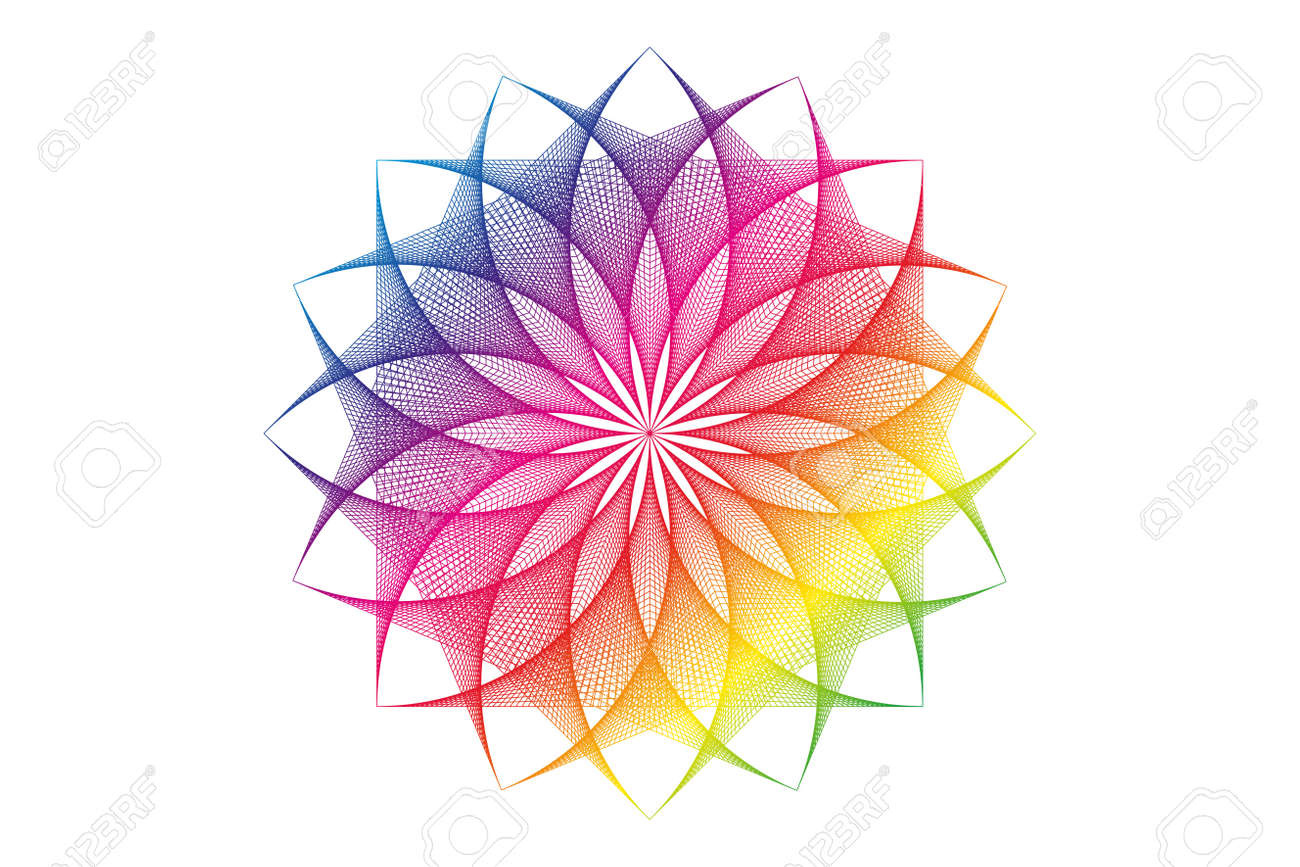 lotus flower spectrum mandala, Seed of life, Sacred Geometry. Logo icon Geometric thread art sign of alchemy esoteric Flower. Vector colorful string line art divine meditative amulet isolated on white - 173569561