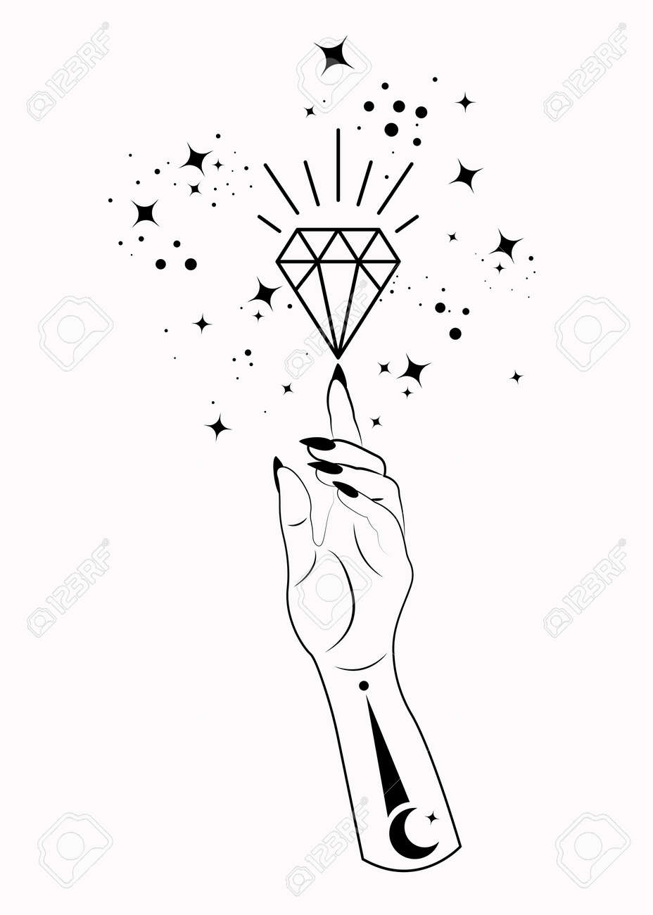 Mystical Woman Hand alchemy esoteric magic space stars, crystal symbol, Sacred Geometry. Boho style Logo in black outline tattoo icon. Spiritual occultism mystic wicca sign. Vector isolated on white - 173569562