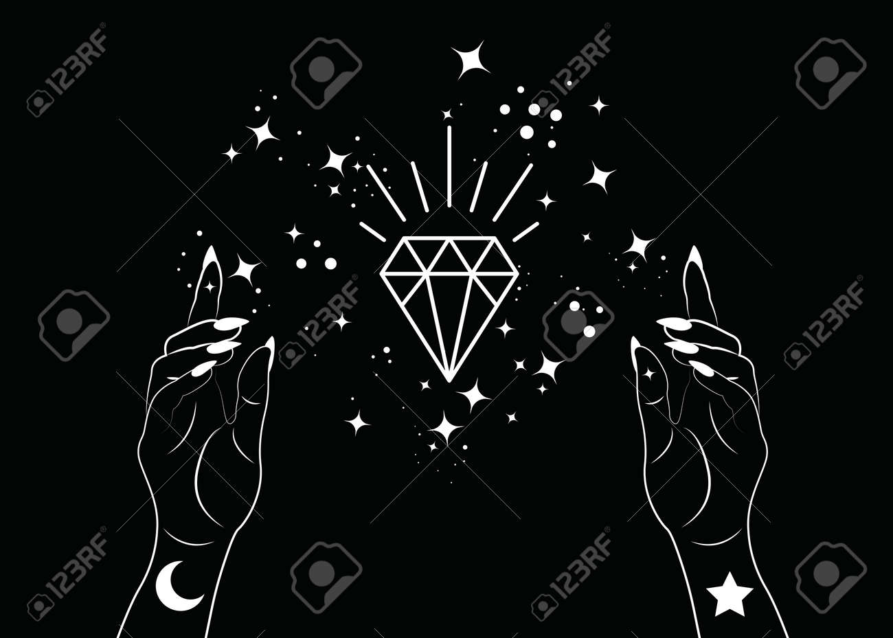 Mystical Woman Hands alchemy esoteric magic space stars, crystal symbol, Sacred Geometry. Boho style Logo in white outline tattoo icon. Spiritual occultism mystic wicca sign. Vector isolated on black - 173569563
