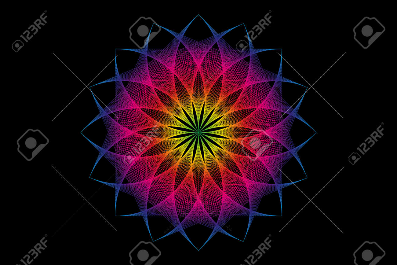 lotus flower spectrum mandala, Seed of life, Sacred Geometry. Logo icon Geometric thread art sign of alchemy esoteric Flower. Vector colorful string line art divine meditative amulet isolated on black - 173739393