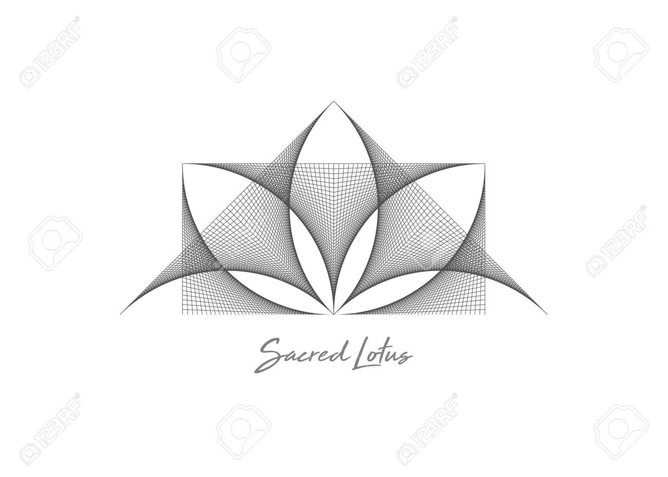Geometric wireframe Sacred Lotus Flower, thread art. Sacred Geometry. String black line Symbol of Harmony and Balance. Sign of purity. Flower logo design vector isolated on white background - 173739392