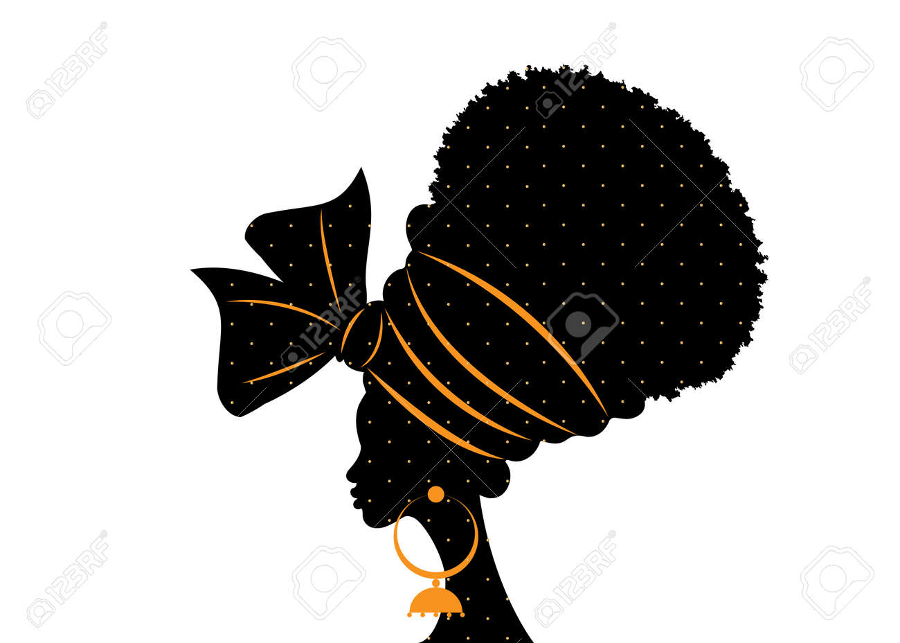 portrait beautiful African woman in traditional turban handmade tribal wedding polka dots textile, Kente head wrap African with ethnic earrings, black women Afro curly hair vector silhouette isolated - 173739389