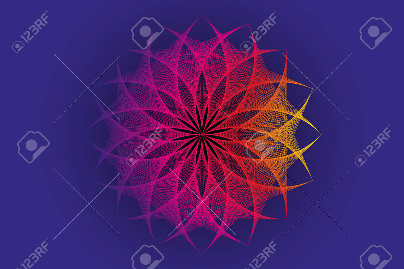 lotus flower spectrum mandala, thread art, Sacred Geometry. String Art colorful Logo icon. Geometric sign of alchemy esoteric Flower. Vector divine meditative isolated on blue background - 173882357