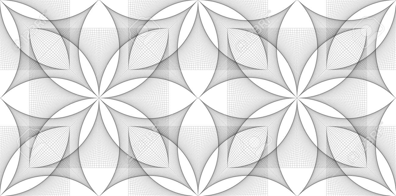 Seamless Flower of Life symbol banner template, geometric wireframe Sacred Lotus Flower, thread art, floral Sacred Geometry in String black line grid isolated on white background - 173882358