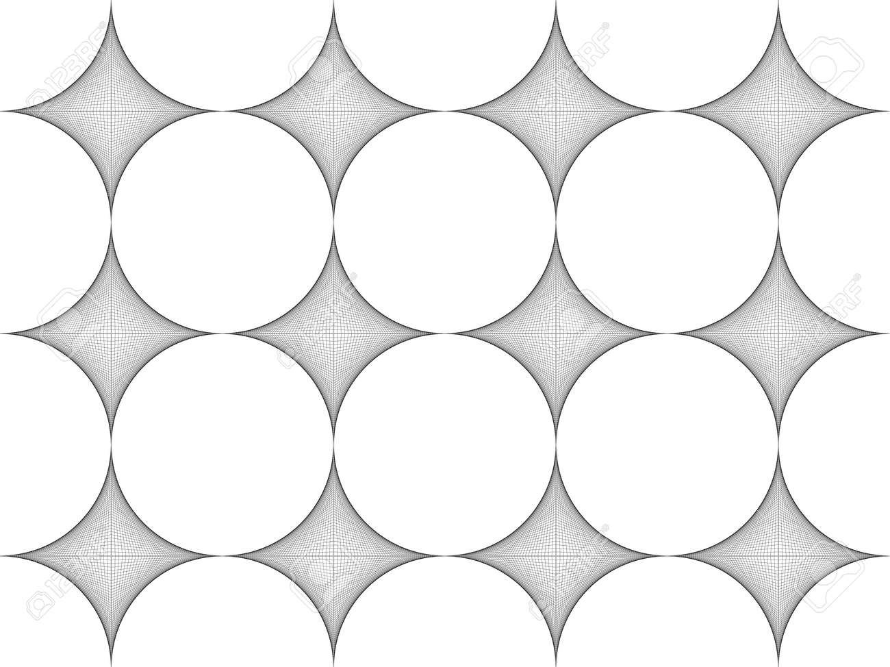 Seamless pattern. Stylish texture. Thread art, Strings line, Tile with regularly repeating geometrical elements, shapes, rhombuses, arches, crossed circles. Monochrome. Backdrop. Web. - 173882355
